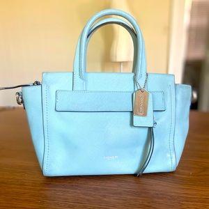 COACH Blue Bleeker Saffiano Leather Mini Riley Bag